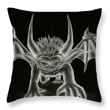 Throw Pillow featuring the painting Grevil Statue by Shawn Dall