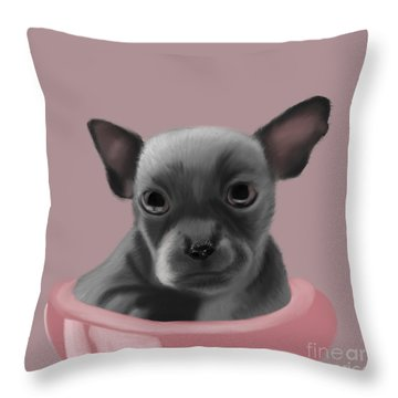 Grey Chihuahua In The Pink Throw Pillow