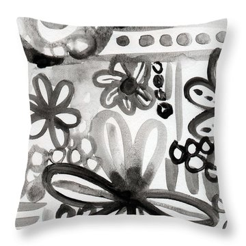 Grey Garden- Abstract Floral Painting Throw Pillow