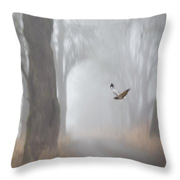 Grey Ghost Throw Pillow by Angie Vogel