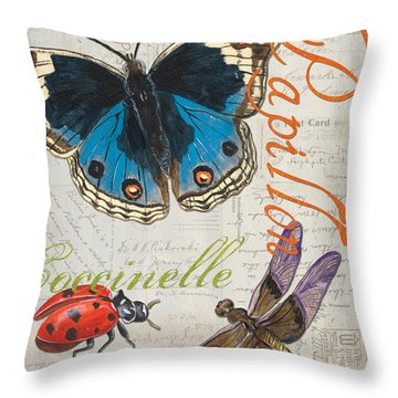 Grey Postcard Butterflies 4 Throw Pillow by Debbie DeWitt