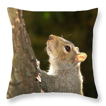 Throw Pillow featuring the digital art Grey Squirrel by Ron Harpham