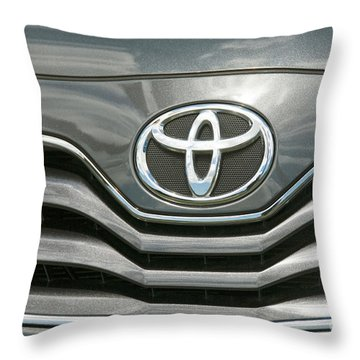 Grey Toyota Grill And Emblem Smile Throw Pillow by David Zanzinger