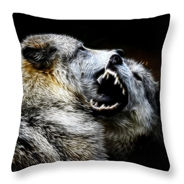 Grey Wolf Fight Throw Pillow
