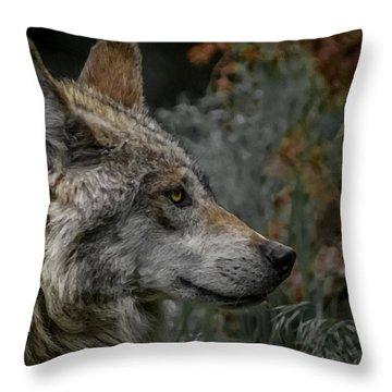 Grey Wolf Profile 3 Throw Pillow by Ernie Echols