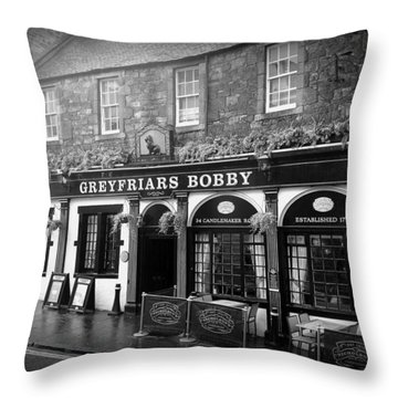 Greyfriars Bobby In Edinburgh Scotland  Throw Pillow