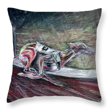 Greyhound Number Three Throw Pillow