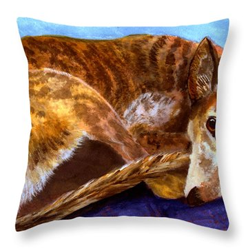 Greyhound Print  Throw Pillow by Mary Jo Zorad