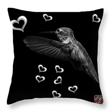 Greyscale Hummingbird - 2055 F M Throw Pillow