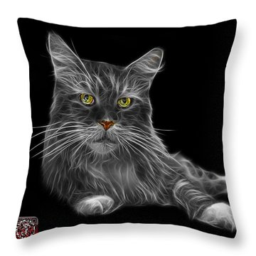 Greyscale Maine Coon Cat - 3926 - Bb Throw Pillow by James Ahn