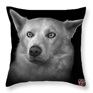 Greyscale Mila - Siberian Husky - 2103 - Bb Throw Pillow by James Ahn