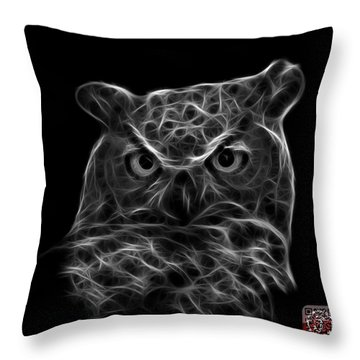 Greyscale Owl 4436 - F M Throw Pillow