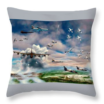 Throw Pillow featuring the painting Griffiss Air Force Base by Dave Luebbert