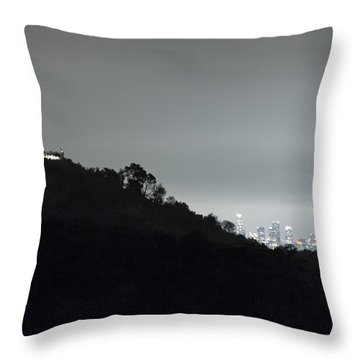 Griffith Park Observatory And Los Angeles Skyline At Night Throw Pillow
