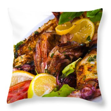 Grilled Fish With Vegetables On Plate. Isolated On A White Backg Throw Pillow