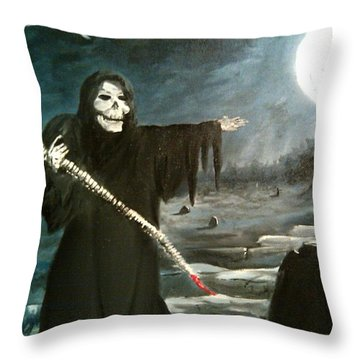Grim Creeper Throw Pillow by Kevin F Heuman