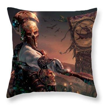 Grim Guardian Throw Pillow