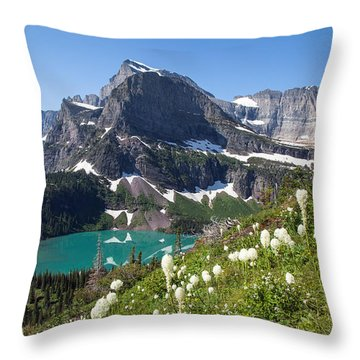 Grinnell Lake With Beargrass Throw Pillow by Jack Bell