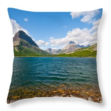 Grinnell Point From Swiftcurrent Lake Throw Pillow