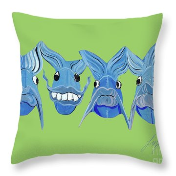 Grinning Fish Throw Pillow by Lizi Beard-Ward