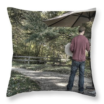 Grist Mill Artist Throw Pillow by Mark Valentine