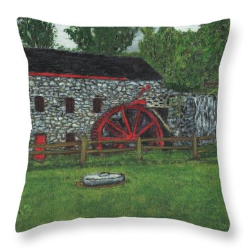 Grist Mill At Wayside Inn Throw Pillow by Cliff Wilson