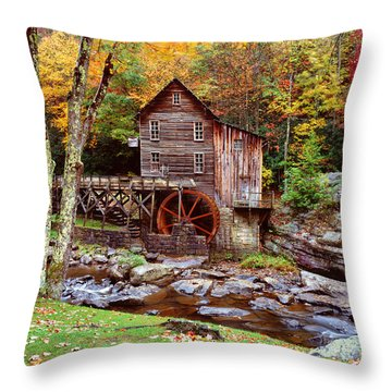 Grist Mill In Babcock St. Park Throw Pillow