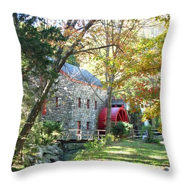 Grist Mill In Fall Throw Pillow by Barbara McDevitt