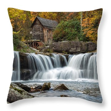 Grist Mill With Vibrant Fall Colors Throw Pillow