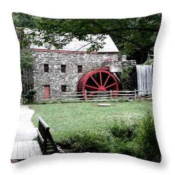 Gristmill Art Throw Pillow by Jayne Carney