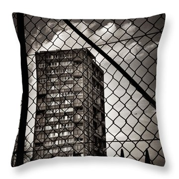 Gritty London Tower Block And Fence - East End London Throw Pillow