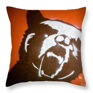 Grizzly Bear Graffiti Throw Pillow by Edward Fielding