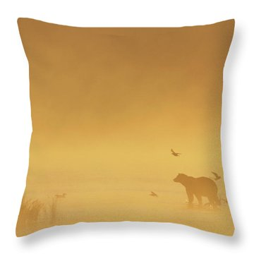 Grizzly Bear In Morning Fog Throw Pillow by Matthias Breiter