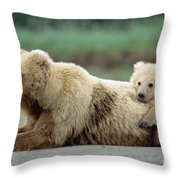 Grizzly Mother And Son Throw Pillow