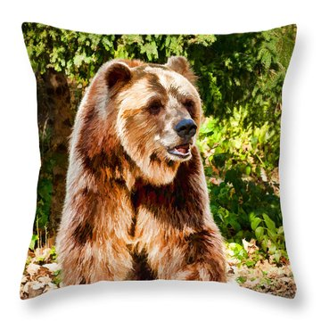 Grizzly Bear - Painterly Throw Pillow