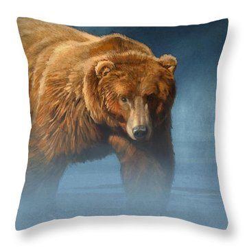 Grizzly Encounter Throw Pillow by Aaron Blaise