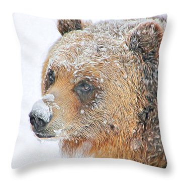 Grizzly Frost Throw Pillow