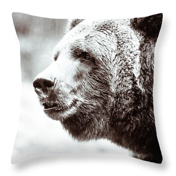 Grizzly In Black And White Throw Pillow by Wade Brooks