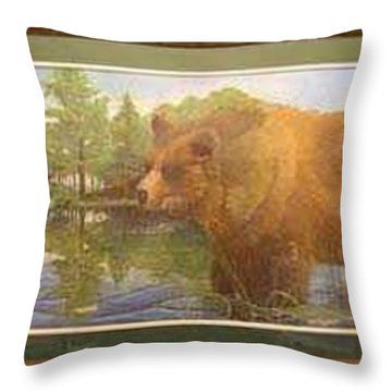 Grizzly Throw Pillow by Rick Huotari