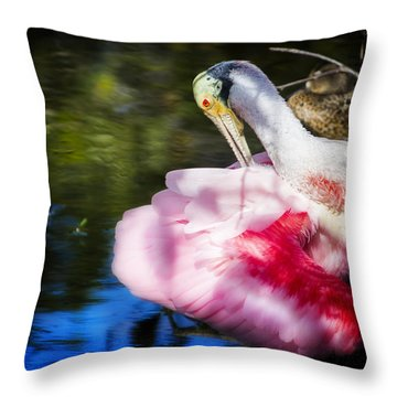 Preening Spoonbill Throw Pillow by Mark Andrew Thomas