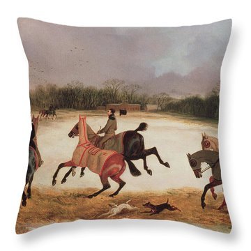 Grooms Exercising Racehorses  Throw Pillow by David of York Dalby