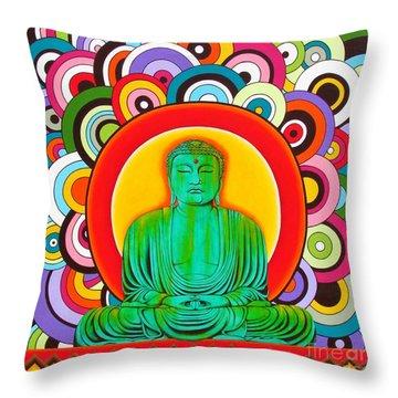 Groovy Buddha Throw Pillow by Joseph Sonday