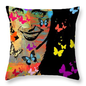 Groovy Butterfly Gal Throw Pillow by Kathy Barney