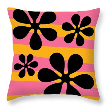 Groovy Flowers I Throw Pillow