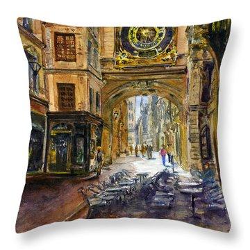 Gros Horlaoge Rouen France Throw Pillow