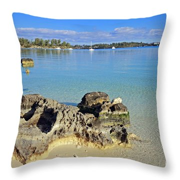 Grotto Bay Beach Throw Pillow by Charline Xia