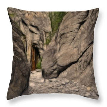 Grotto Canyon Fractal Throw Pillow