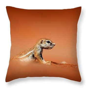 Ground Squirrel On Red Desert Sand Throw Pillow
