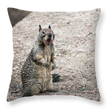 Ground Squirrel Raising A Ruckus Throw Pillow by Susan Wiedmann