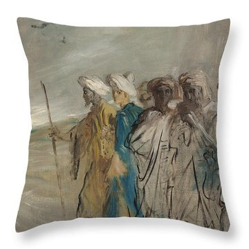 Group Of Arabs Or, Joseph Sold By His Brothers Oil On Canvas Throw Pillow